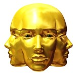 golden three-faced Janus head